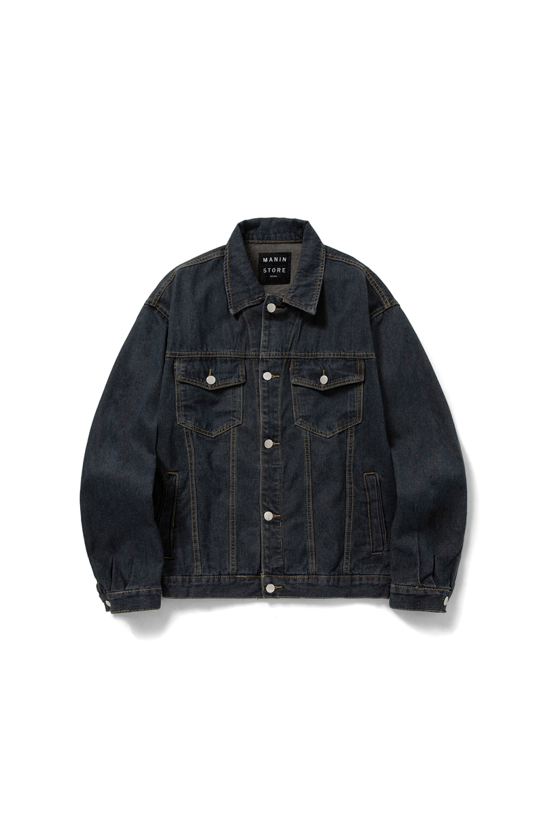 MANIN Premium  Basic Loose Denim Jacket_Dark Blue