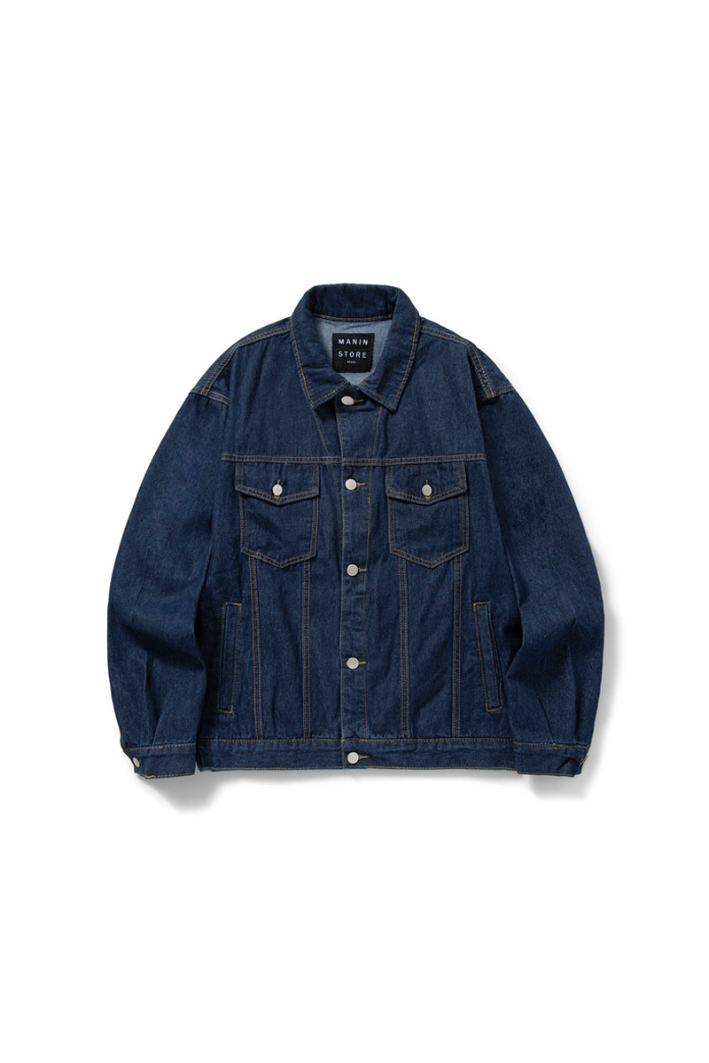 MANIN Premium  Basic Loose Denim Jacket_Blue