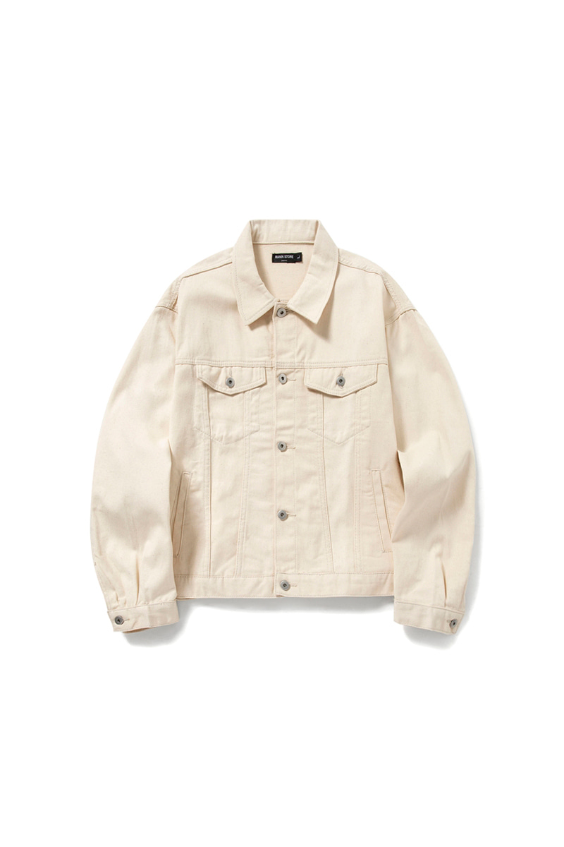 MANIN Premium Basic Over Trucker Jacket_Ivory