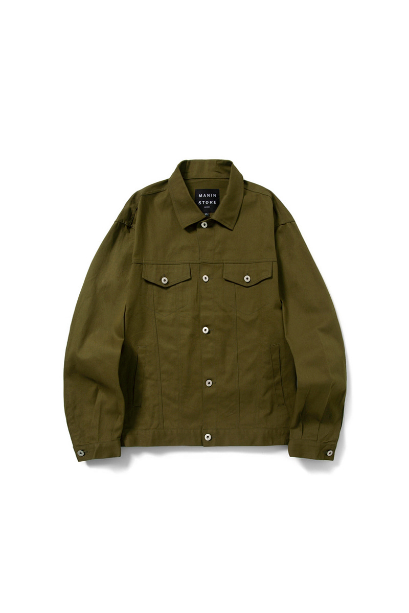 MANIN Premium Basic Over Trucker Jacket_Khaki