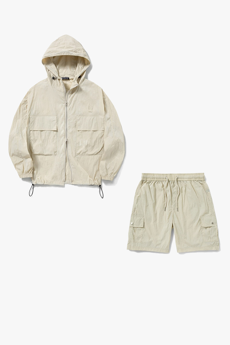 1+1 Summer Windbreaker Short Pants Set-Up_Beige