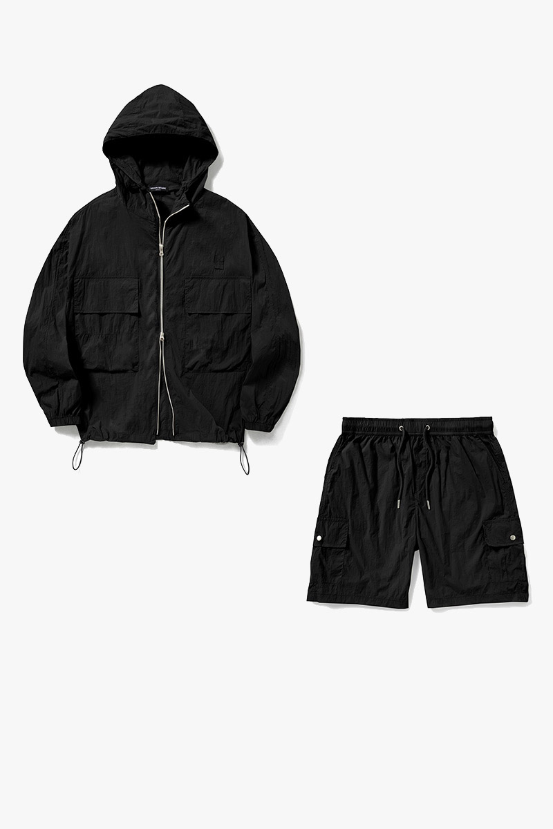1+1 Summer Windbreaker Short Pants Set-Up_Black