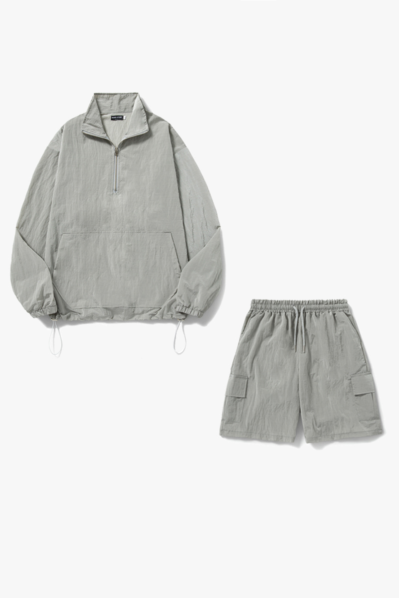 1+1 Ordinary Anorak Short Half pants Set-Up_Gray